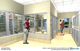 The inside view of the new proposed adoption center that promises more space, species-specific habitat and lots of natural light (credit MSPCA-Angell)
