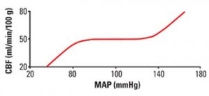 Graph 2: In states of health, cerebral blood flow (CBF) is maintained relatively constant over a wide range of mean arterial pressures. This autoregulation disappears after a traumatic insult to the brain and CBF becomes directly dependent on blood pressure and is no longer able to be kept constant.