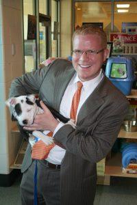 Boston ciyt councilor Matt O'Malley and puppy, Ferguson resized